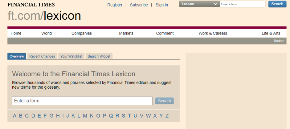 Financial Times Glossary