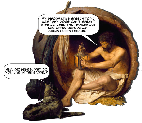 Diogenes is persuaded by the dog to select an informative speech topic from Homework Lab