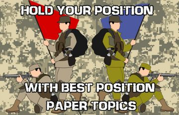Position paper topics illustrated by soldiers